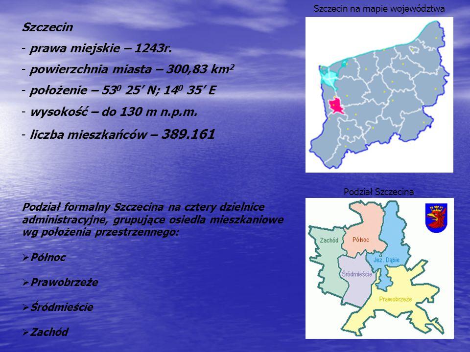 Szczecin jest gminą o statusie miasta, wykonującą zadania powiatu, w którym władzę wykonawczą sprawuje prezydent miasta. Stolica i największe miasto w
