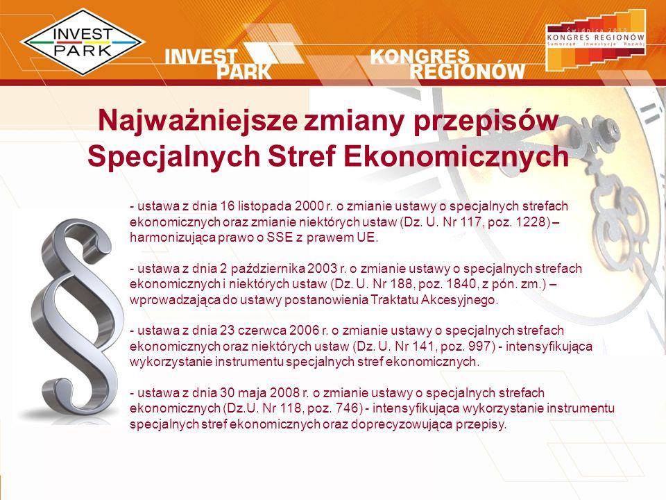 Najważniejsze zmiany przepisów Specjalnych Stref Ekonomicznych - ustawa z dnia 16 listopada 2000 r. o zmianie ustawy o specjalnych strefach ekonomiczn
