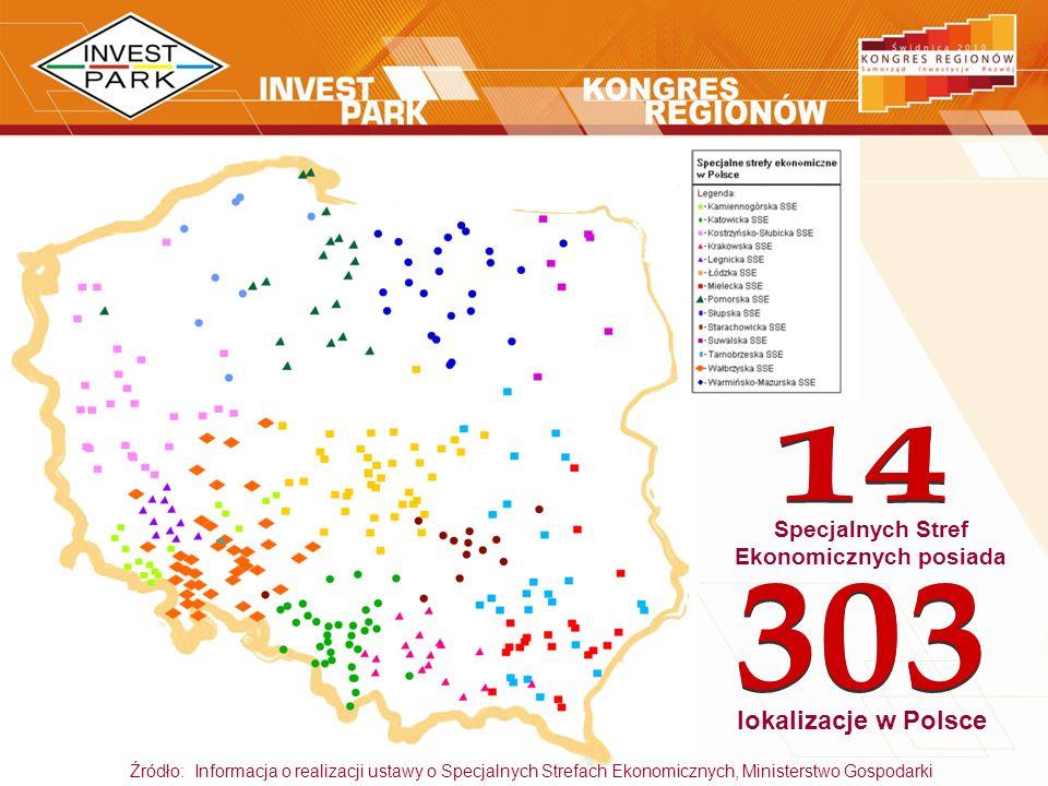 lokalizacje w Polsce Źródło: Informacja o realizacji ustawy o Specjalnych Strefach Ekonomicznych, Ministerstwo Gospodarki Specjalnych Stref Ekonomiczn