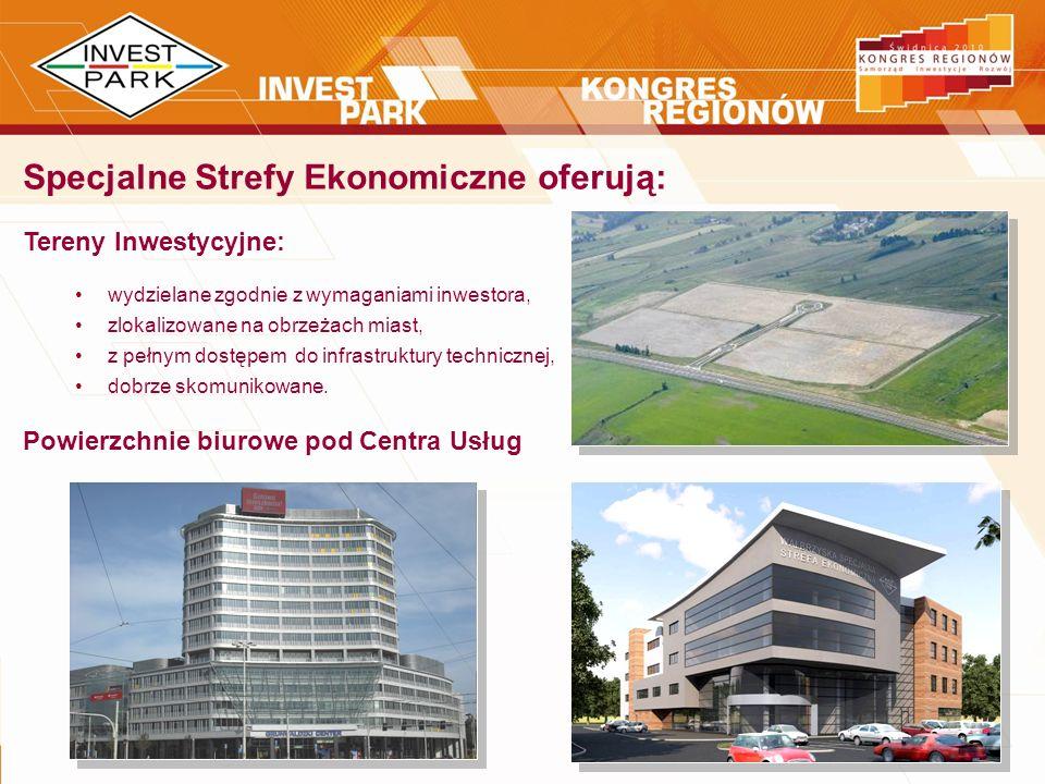 Specjalne Strefy Ekonomiczne oferują: Tereny Inwestycyjne: wydzielane zgodnie z wymaganiami inwestora, zlokalizowane na obrzeżach miast, z pełnym dost
