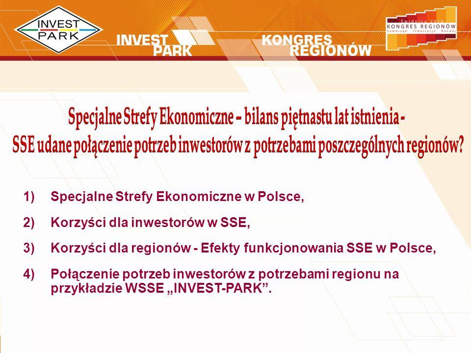 1)Specjalne Strefy Ekonomiczne w Polsce, 2)Korzyści dla inwestorów w SSE, 3)Korzyści dla regionów - Efekty funkcjonowania SSE w Polsce, 4)Połączenie p