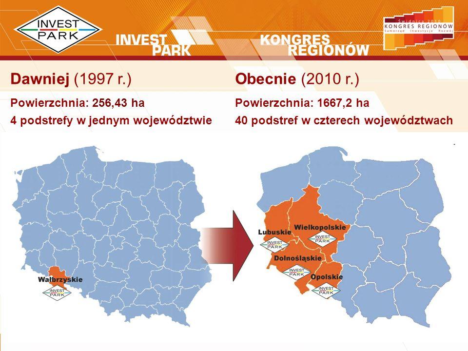Dawniej (1997 r.) Powierzchnia: 256,43 ha 4 podstrefy w jednym województwie Obecnie (2010 r.) Powierzchnia: 1667,2 ha 40 podstref w czterech województ