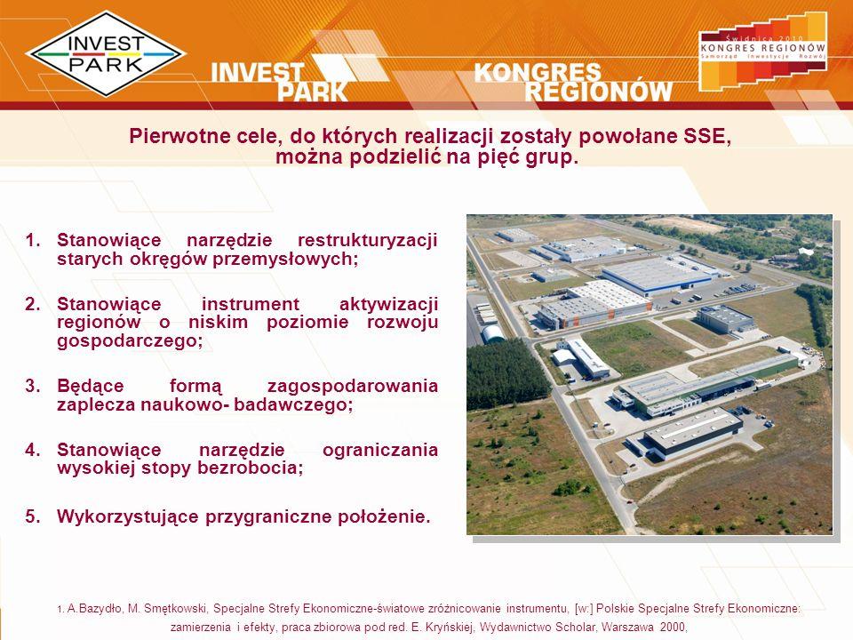 1.Stanowiące narzędzie restrukturyzacji starych okręgów przemysłowych; 2.Stanowiące instrument aktywizacji regionów o niskim poziomie rozwoju gospodar