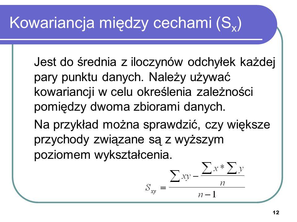 12 Kowariancja między cechami (S x ) Jest do średnia z iloczynów odchyłek każdej pary punktu danych.