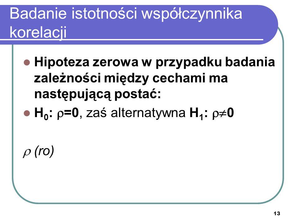 13 Badanie istotności współczynnika korelacji Hipoteza zerowa w przypadku badania zależności między cechami ma następującą postać: H 0 : =0, zaś alternatywna H 1 : 0 (ro)