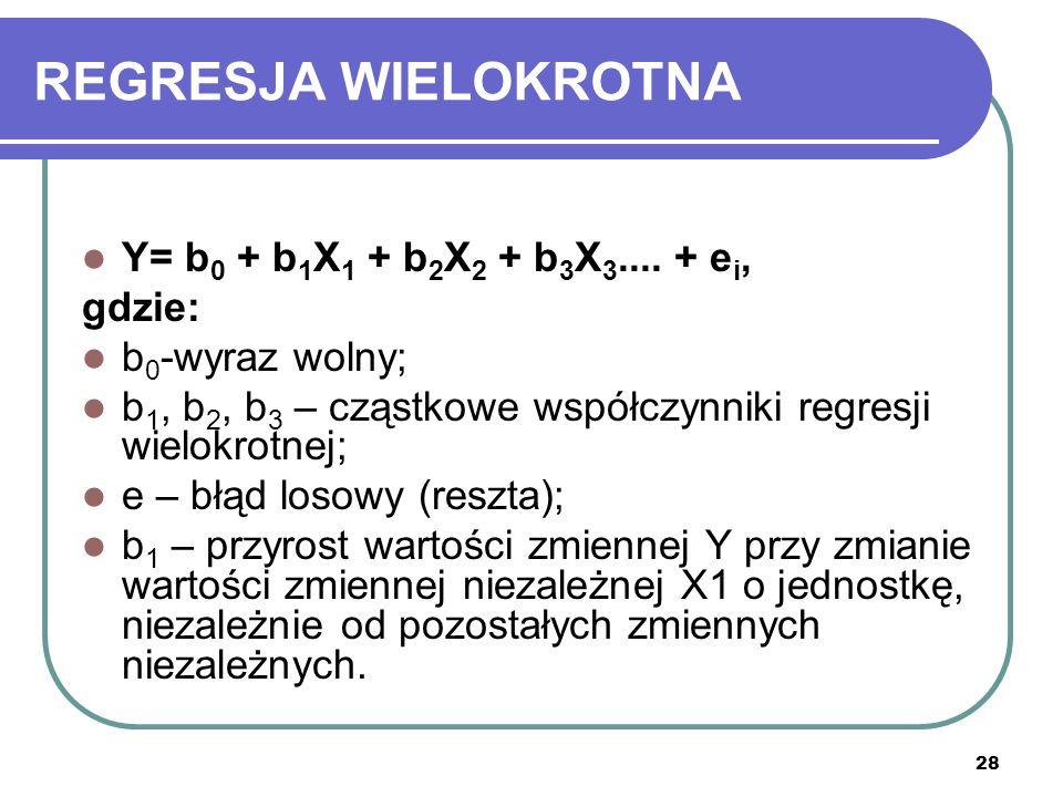 28 REGRESJA WIELOKROTNA Y= b 0 + b 1 X 1 + b 2 X 2 + b 3 X 3....
