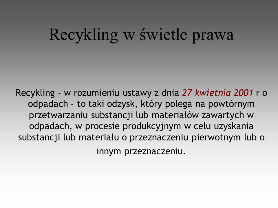 Recykling w świetle prawa Recykling - w rozumieniu ustawy z dnia 27 kwietnia 2001 r o odpadach - to taki odzysk, który polega na powtórnym przetwarzaniu substancji lub materiałów zawartych w odpadach, w procesie produkcyjnym w celu uzyskania substancji lub materiału o przeznaczeniu pierwotnym lub o innym przeznaczeniu.