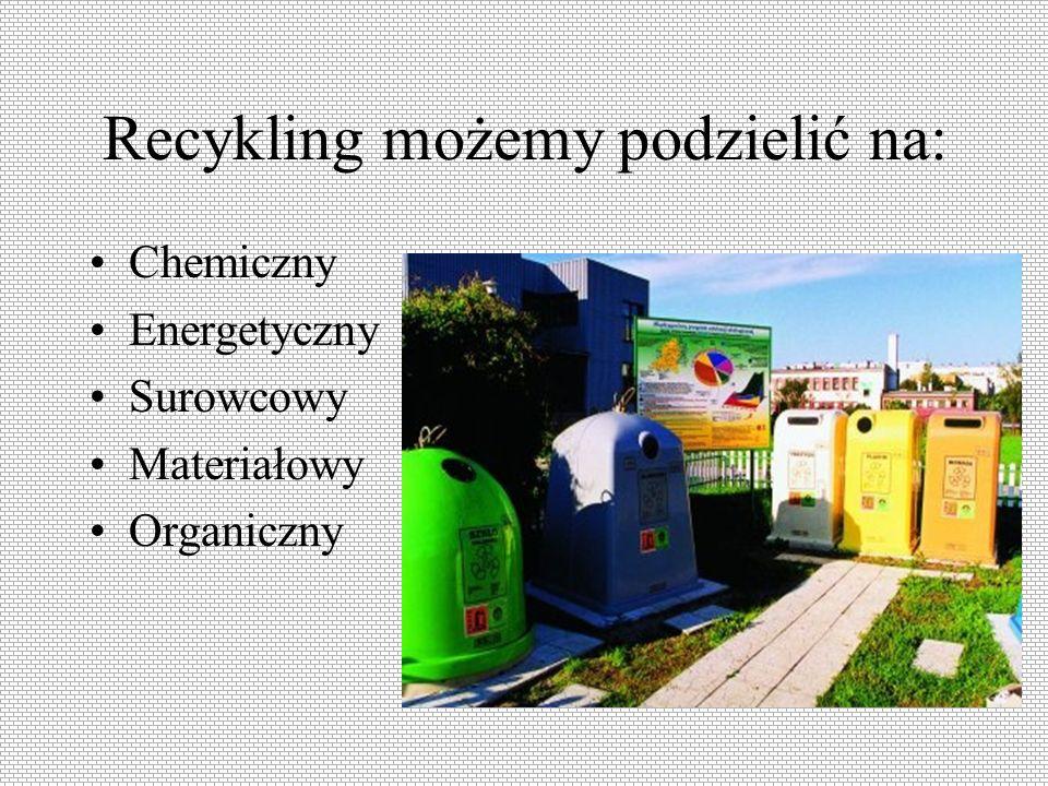 Recykling możemy podzielić na: Chemiczny Energetyczny Surowcowy Materiałowy Organiczny