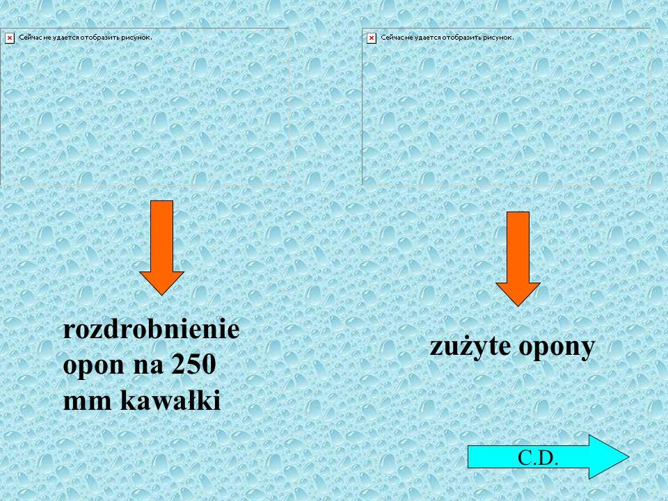 rozdrobnienie opon na 250 mm kawałki zużyte opony C.D.