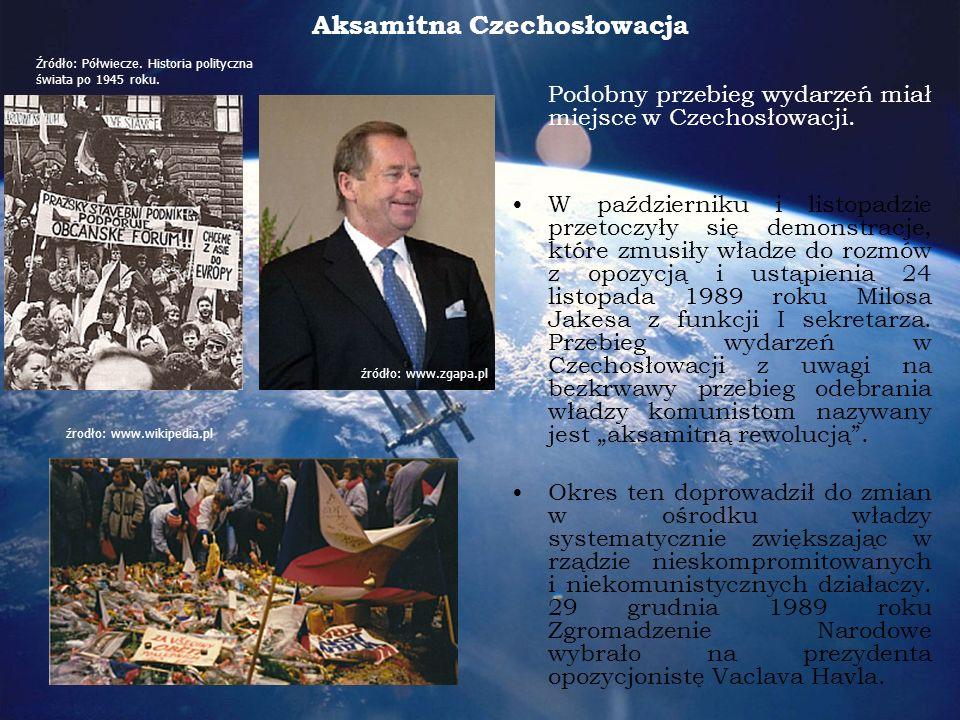 Aksamitna Czechosłowacja Podobny przebieg wydarzeń miał miejsce w Czechosłowacji.