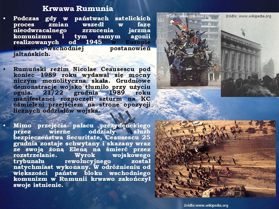 Krwawa Rumunia Podczas gdy w państwach satelickich proces zmian wszedł w fazę nieodwracalnego zrzucenia jarzma komunizmu i tym samym agonii realizowanych od 1945 w Europie Środkowo-Wschodniej postanowień jałtańskich.