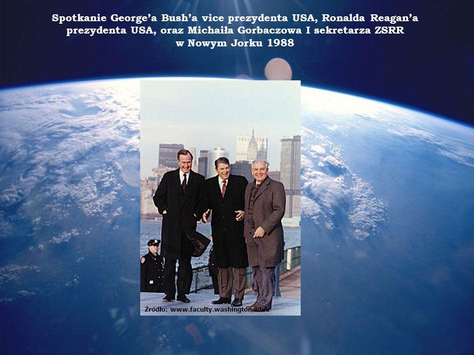 Spotkanie Georgea Busha vice prezydenta USA, Ronalda Reagana prezydenta USA, oraz Michaiła Gorbaczowa I sekretarza ZSRR w Nowym Jorku 1988 Źródło: www.faculty.washington.edu