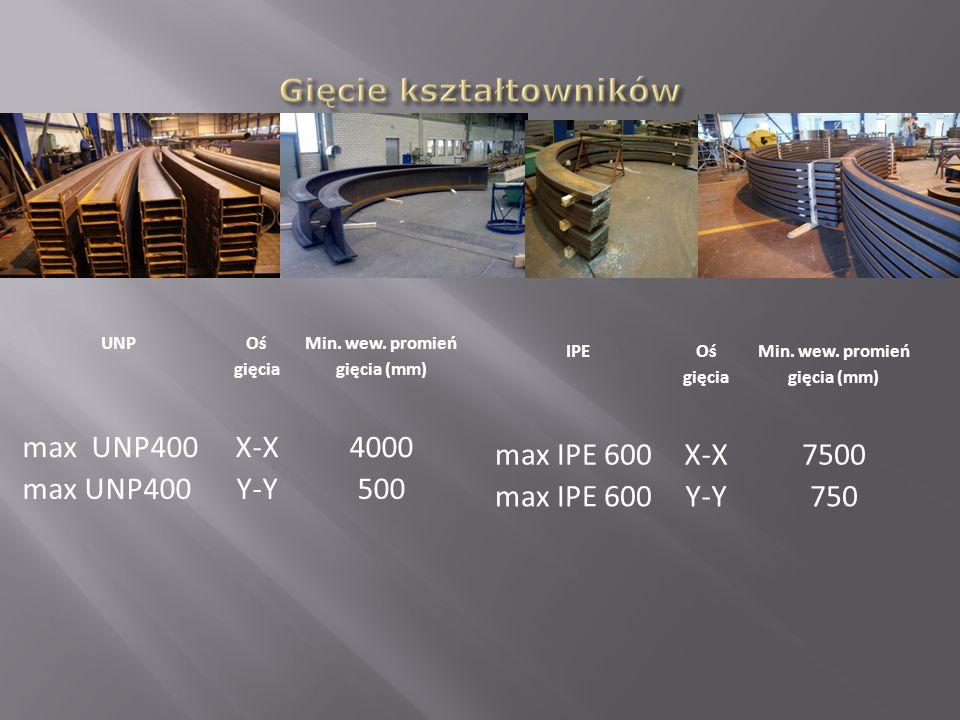 UNP Oś gięcia Min. wew. promień gięcia (mm) max UNP400X-X4000 max UNP400Y-Y500 IPE Oś gięcia Min. wew. promień gięcia (mm) max IPE 600X-X7500 max IPE