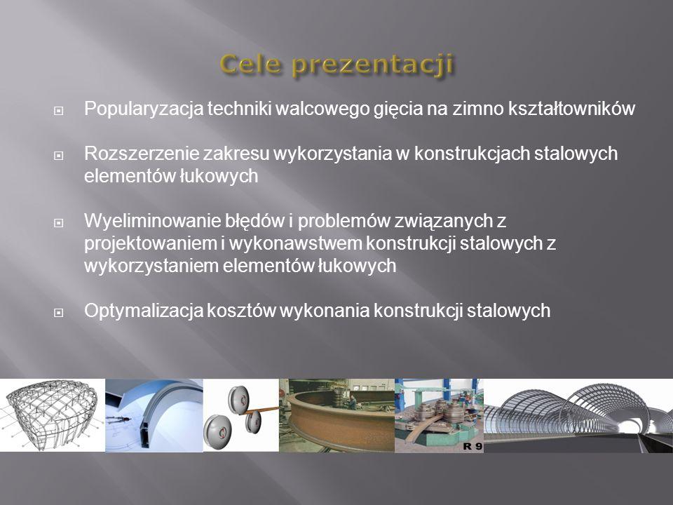Popularyzacja techniki walcowego gięcia na zimno kształtowników Rozszerzenie zakresu wykorzystania w konstrukcjach stalowych elementów łukowych Wyelim