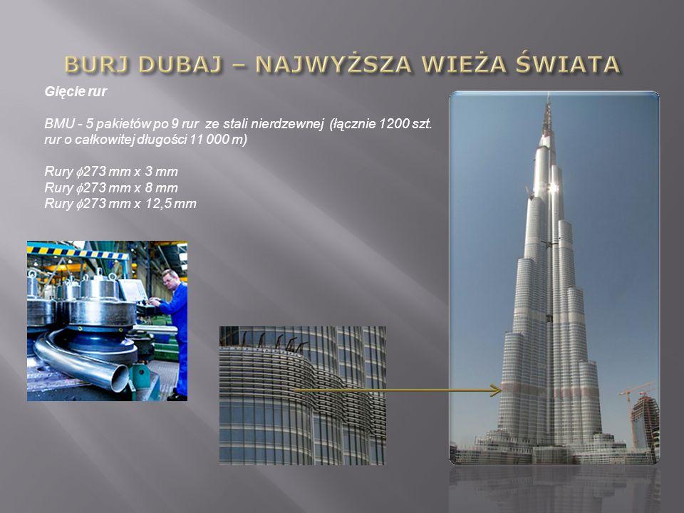 Gięcie rur BMU - 5 pakietów po 9 rur ze stali nierdzewnej (łącznie 1200 szt. rur o całkowitej długości 11 000 m) Rury 273 mm x 3 mm Rury 273 mm x 8 mm