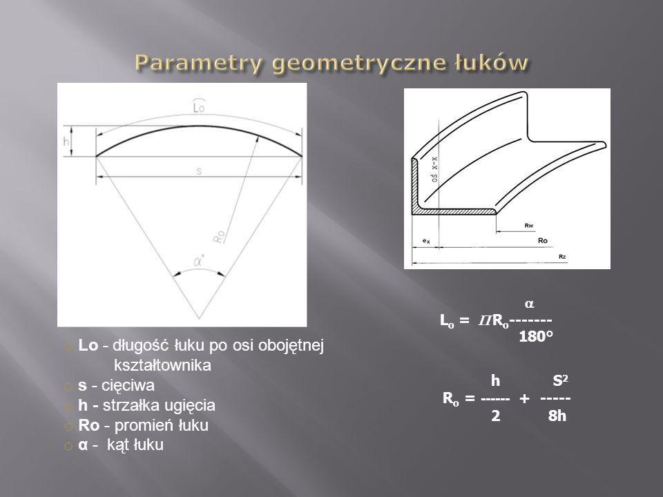 o Lo - długość łuku po osi obojętnej kształtownika o s - cięciwa o h - strzałka ugięcia o Ro - promień łuku o α - kąt łuku h S 2 R o = ------ + -----