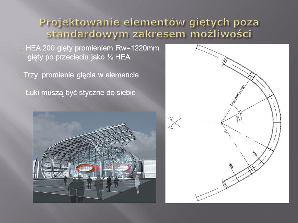 o HEA 200 gięty promieniem Rw=1220mm gięty po przecięciu jako ½ HEA o Trzy promienie gięcia w elemencie o Łuki muszą być styczne do siebie