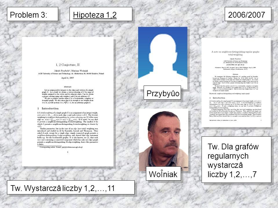 Problem 3:Hipoteza 1,2Tw. Wystarczâ liczby 1,2,…,11WoÎniakPrzybyûo 2006/2007 Tw. Dla grafów regularnych wystarczâ liczby 1,2,…,7