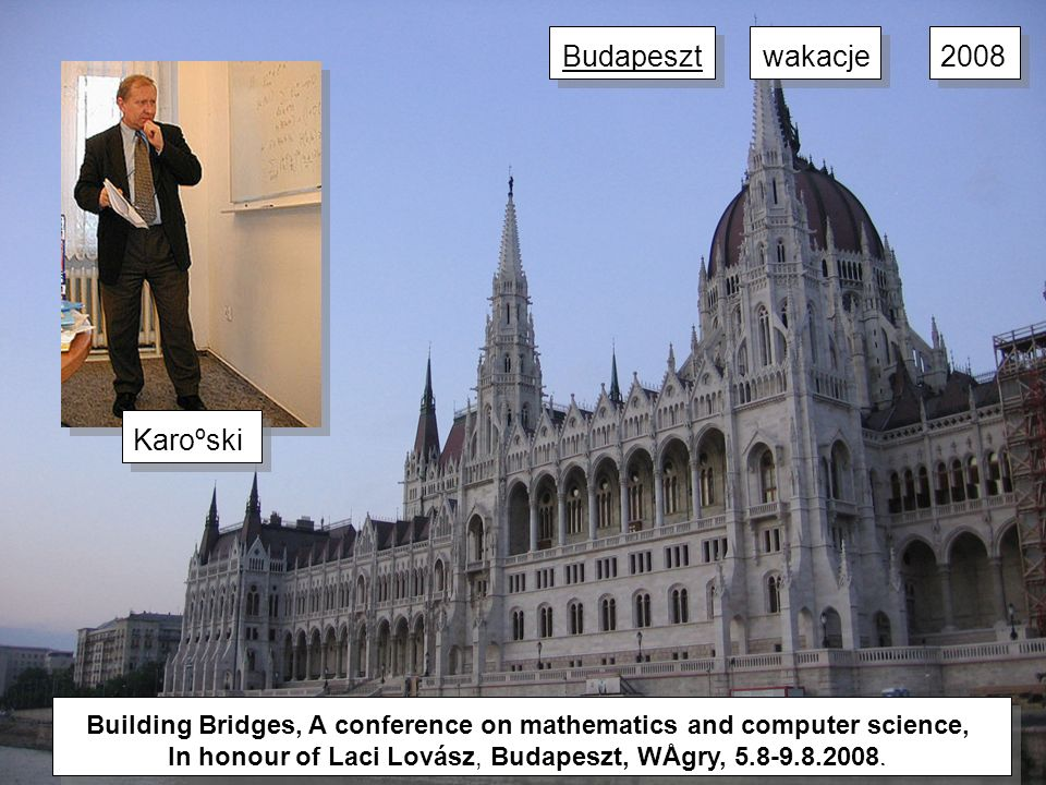 Building Bridges, A conference on mathematics and computer science, In honour of Laci Lovász, Budapeszt, WÅgry, 5.8-9.8.2008.