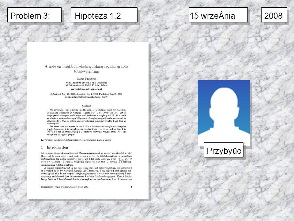 2008 15 wrzeÀniaPrzybyûoProblem 3:Hipoteza 1,2
