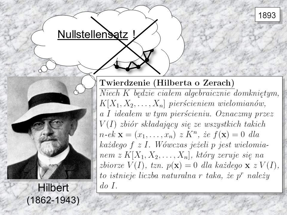 Hilbert (1862-1943) Nullstellensatz ! 1893