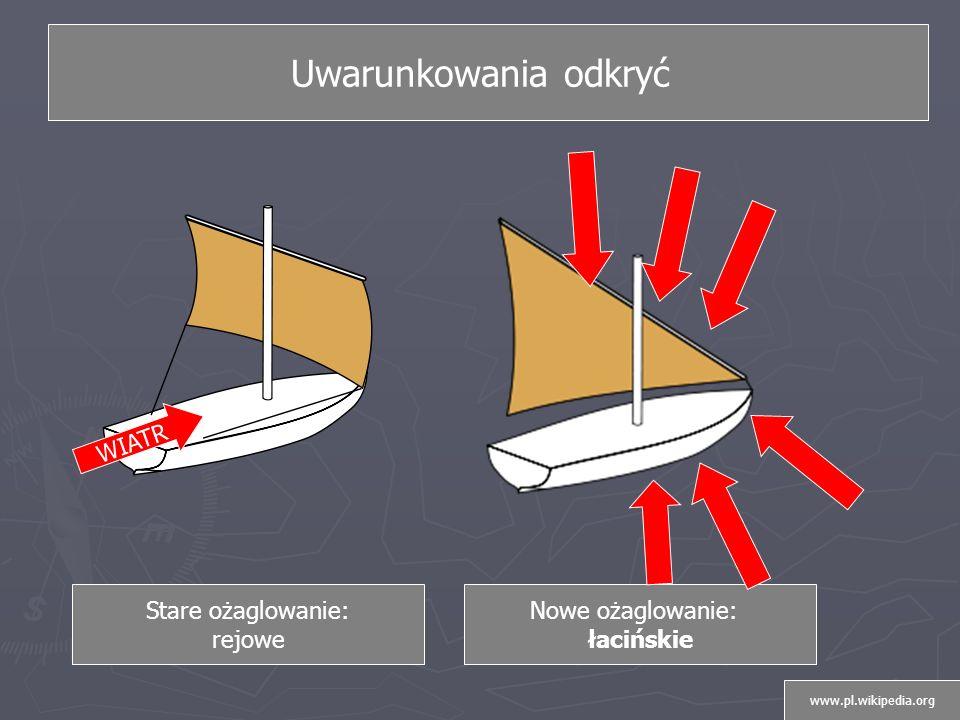 Uwarunkowania odkryć Stare ożaglowanie: rejowe Nowe ożaglowanie: łacińskie WIATR www.pl.wikipedia.org