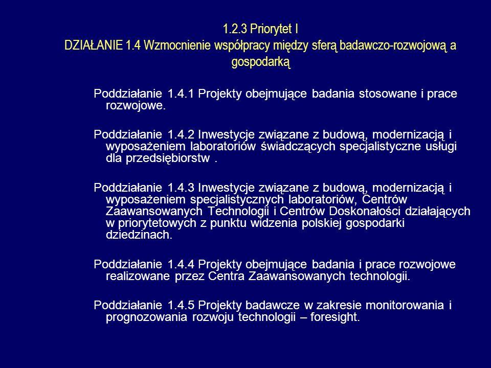 1.2.3 Priorytet I DZIAŁANIE 1.4 Wzmocnienie współpracy między sferą badawczo-rozwojową a gospodarką Poddziałanie 1.4.1 Projekty obejmujące badania stosowane i prace rozwojowe.
