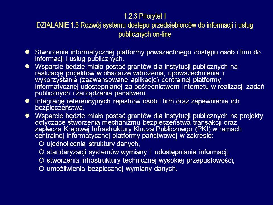 1.2.3 Priorytet I DZIAŁANIE 1.5 Rozwój systemu dostępu przedsiębiorców do informacji i usług publicznych on-line Stworzenie informatycznej platformy powszechnego dostępu osób i firm do informacji i usług publicznych.