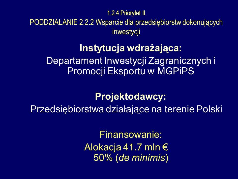 Instytucja wdrażająca: Departament Inwestycji Zagranicznych i Promocji Eksportu w MGPiPS Projektodawcy: Przedsiębiorstwa działające na terenie Polski Finansowanie: Alokacja 41.7 mln 50% (de minimis) 1.2.4 Priorytet II PODDZIAŁANIE 2.2.2 Wsparcie dla przedsiębiorstw dokonujących inwestycji