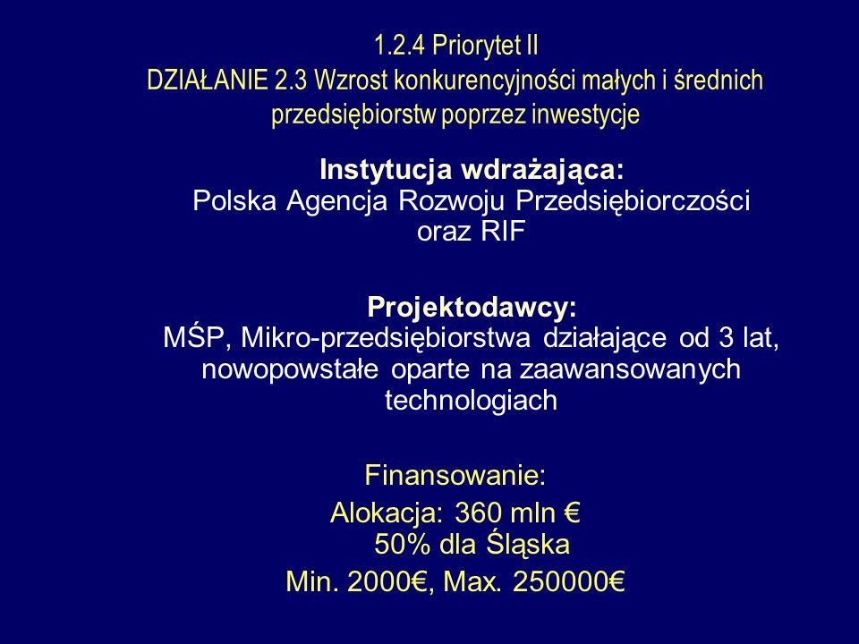 Instytucja wdrażająca: Polska Agencja Rozwoju Przedsiębiorczości oraz RIF Projektodawcy: MŚP, Mikro-przedsiębiorstwa działające od 3 lat, nowopowstałe oparte na zaawansowanych technologiach Finansowanie: Alokacja: 360 mln 50% dla Śląska Min.