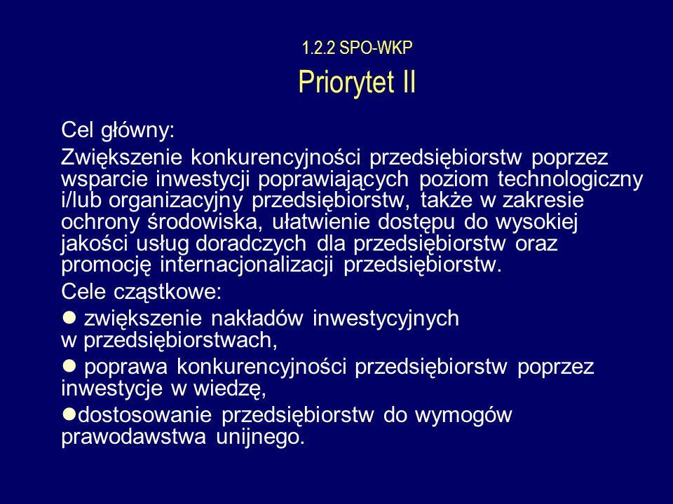 1.2.2 SPO-WKP Priorytet II Cel główny: Cele cząstkowe: