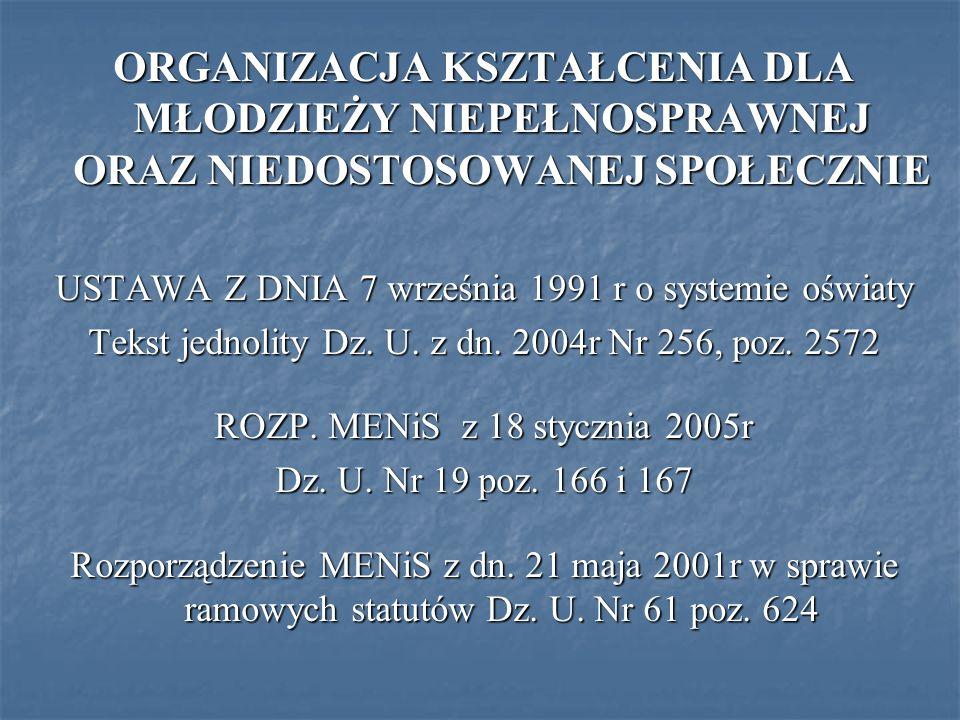 ORGANIZACJA KSZTAŁCENIA DLA MŁODZIEŻY NIEPEŁNOSPRAWNEJ ORAZ NIEDOSTOSOWANEJ SPOŁECZNIE USTAWA Z DNIA 7 września 1991 r o systemie oświaty Tekst jednol