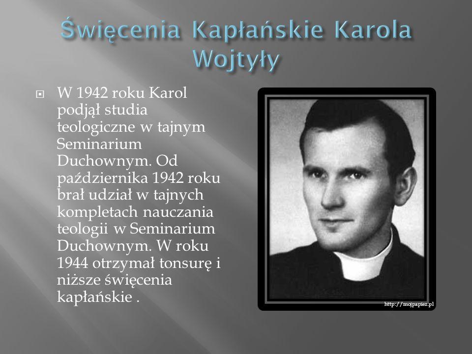 W 1942 roku Karol podjął studia teologiczne w tajnym Seminarium Duchownym. Od października 1942 roku brał udział w tajnych kompletach nauczania teolog