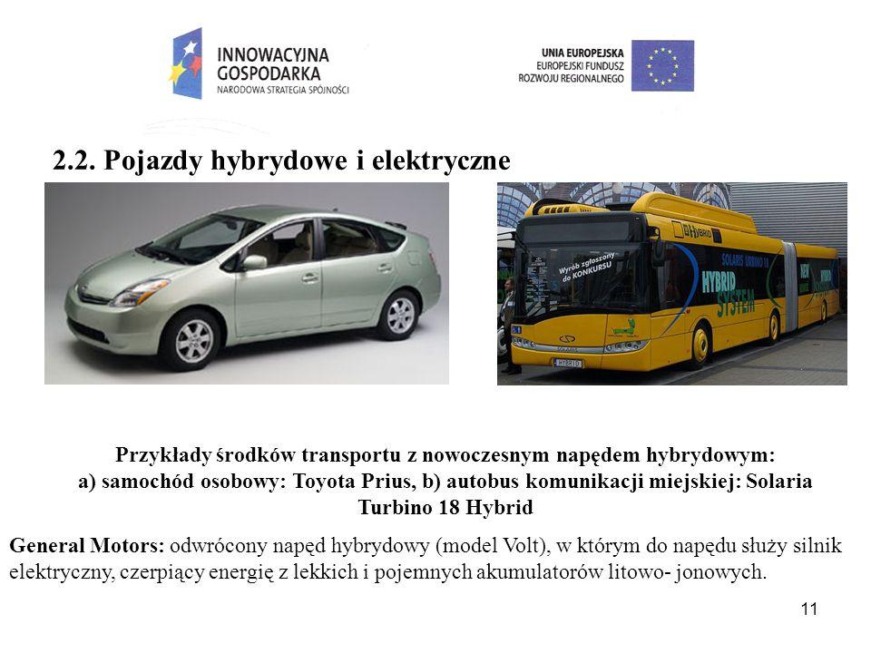11 2.2. Pojazdy hybrydowe i elektryczne Przykłady środków transportu z nowoczesnym napędem hybrydowym: a) samochód osobowy: Toyota Prius, b) autobus k