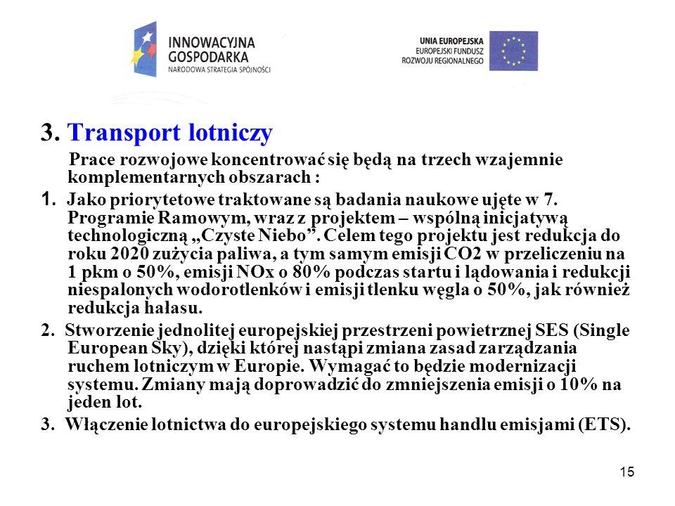 15 3. Transport lotniczy Prace rozwojowe koncentrować się będą na trzech wzajemnie komplementarnych obszarach : 1. Jako priorytetowe traktowane są bad
