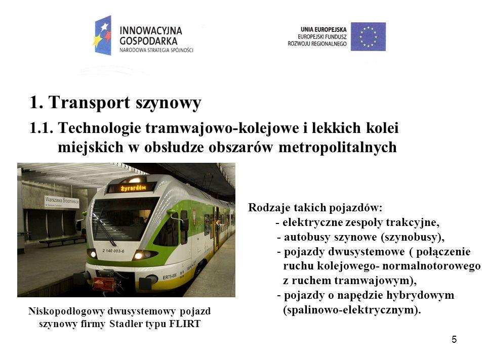 5 1. Transport szynowy 1.1. Technologie tramwajowo-kolejowe i lekkich kolei miejskich w obsłudze obszarów metropolitalnych Niskopodłogowy dwusystemowy