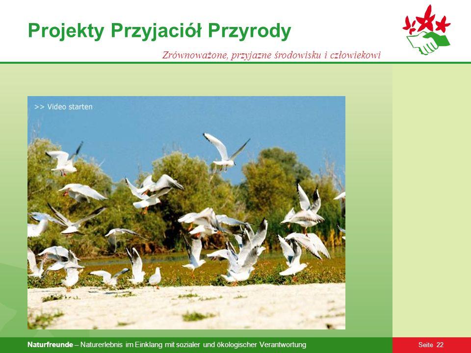 Naturfreunde – Naturerlebnis im Einklang mit sozialer und ökologischer Verantwortung Seite 22 Projekty Przyjaciół Przyrody Zrównoważone, przyjazne śro