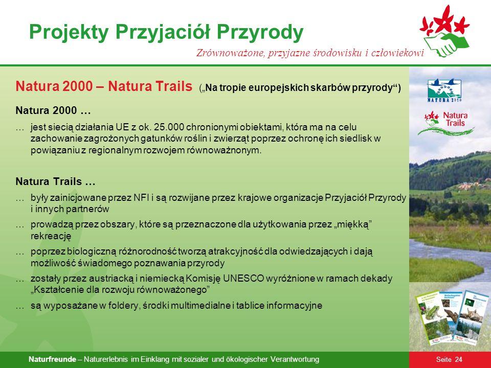 Naturfreunde – Naturerlebnis im Einklang mit sozialer und ökologischer Verantwortung Seite 24 Projekty Przyjaciół Przyrody Zrównoważone, przyjazne śro