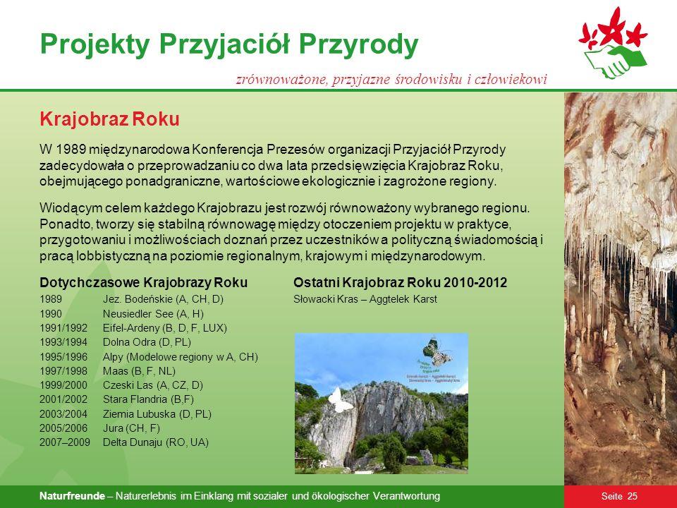 Naturfreunde – Naturerlebnis im Einklang mit sozialer und ökologischer Verantwortung Seite 25 Projekty Przyjaciół Przyrody zrównoważone, przyjazne śro