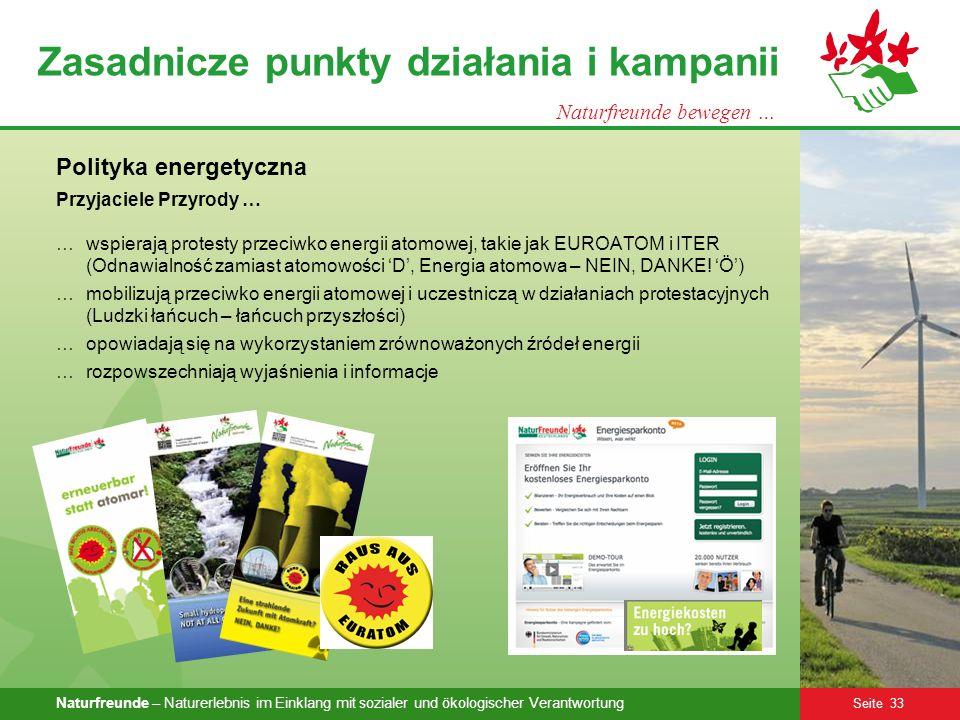 Naturfreunde – Naturerlebnis im Einklang mit sozialer und ökologischer Verantwortung Seite 33 Zasadnicze punkty działania i kampanii Naturfreunde bewe