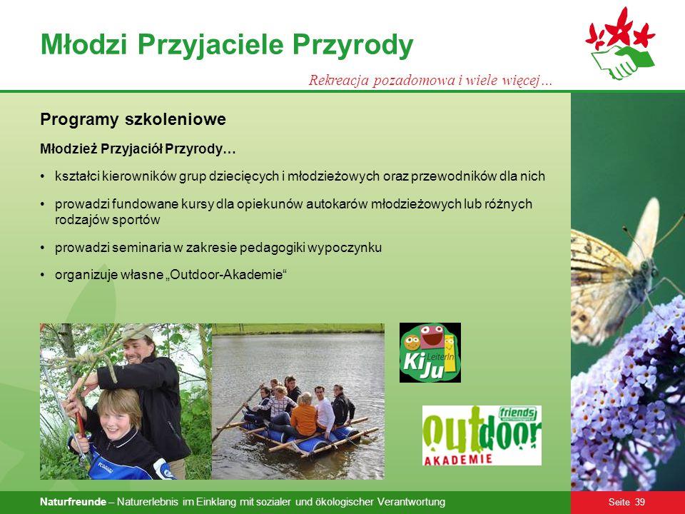 Naturfreunde – Naturerlebnis im Einklang mit sozialer und ökologischer Verantwortung Seite 39 Młodzi Przyjaciele Przyrody Rekreacja pozadomowa i wiele
