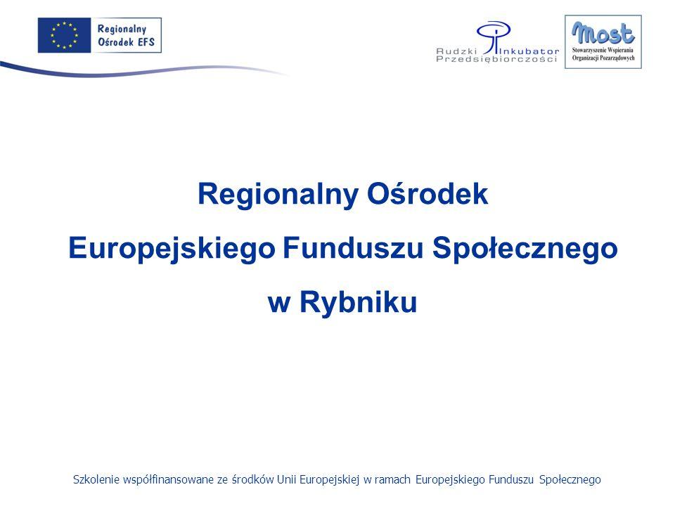 Szkolenie współfinansowane ze środków Unii Europejskiej w ramach Europejskiego Funduszu Społecznego Regionalny Ośrodek Europejskiego Funduszu Społecznego w Rybniku