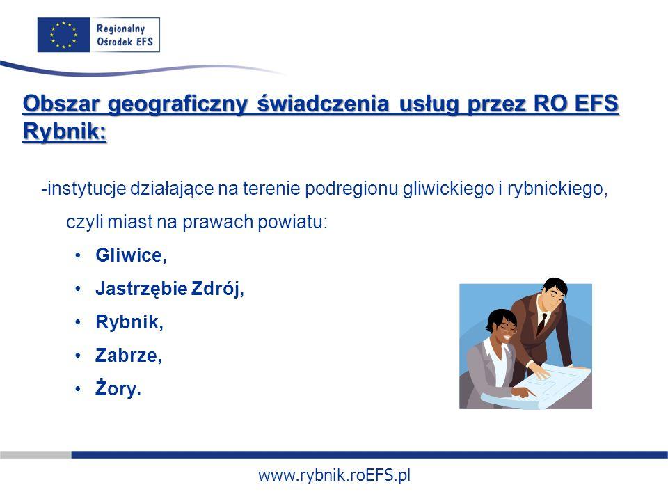 www.rybnik.roEFS.pl Obszar geograficzny świadczenia usług przez RO EFS Rybnik: -instytucje działające na terenie podregionu gliwickiego i rybnickiego, czyli miast na prawach powiatu: Gliwice, Jastrzębie Zdrój, Rybnik, Zabrze, Żory.