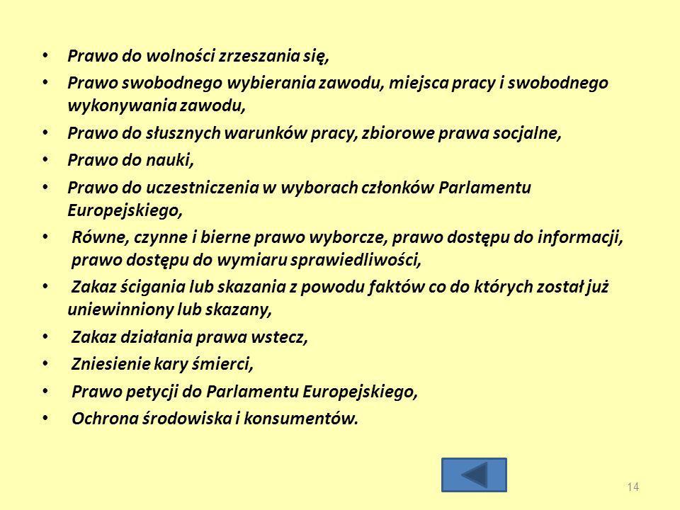 Prawo do wolności zrzeszania się, Prawo swobodnego wybierania zawodu, miejsca pracy i swobodnego wykonywania zawodu, Prawo do słusznych warunków pracy, zbiorowe prawa socjalne, Prawo do nauki, Prawo do uczestniczenia w wyborach członków Parlamentu Europejskiego, Równe, czynne i bierne prawo wyborcze, prawo dostępu do informacji, prawo dostępu do wymiaru sprawiedliwości, Zakaz ścigania lub skazania z powodu faktów co do których został już uniewinniony lub skazany, Zakaz działania prawa wstecz, Zniesienie kary śmierci, Prawo petycji do Parlamentu Europejskiego, Ochrona środowiska i konsumentów.