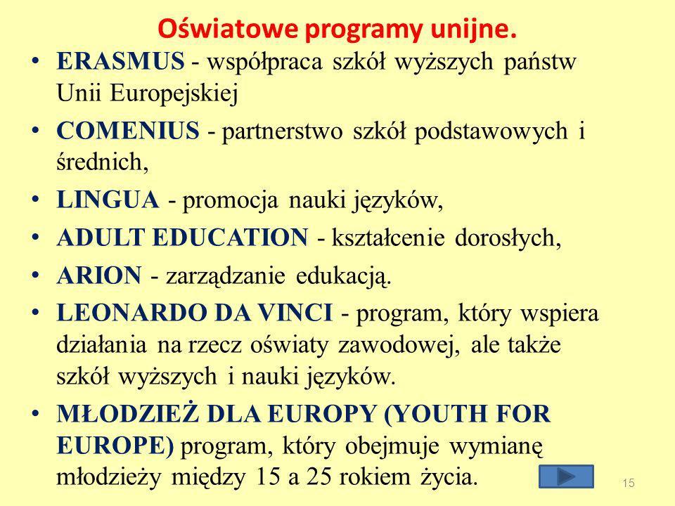 Oświatowe programy unijne.