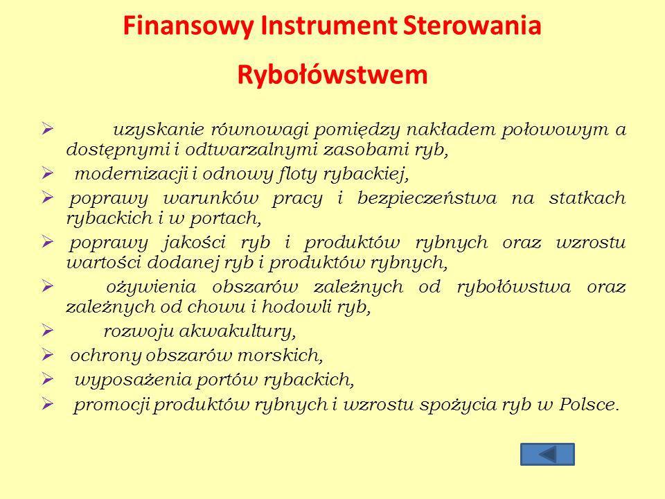 Finansowy Instrument Sterowania Rybołówstwem uzyskanie równowagi pomiędzy nakładem połowowym a dostępnymi i odtwarzalnymi zasobami ryb, modernizacji i odnowy floty rybackiej, poprawy warunków pracy i bezpieczeństwa na statkach rybackich i w portach, poprawy jakości ryb i produktów rybnych oraz wzrostu wartości dodanej ryb i produktów rybnych, ożywienia obszarów zależnych od rybołówstwa oraz zależnych od chowu i hodowli ryb, rozwoju akwakultury, ochrony obszarów morskich, wyposażenia portów rybackich, promocji produktów rybnych i wzrostu spożycia ryb w Polsce.
