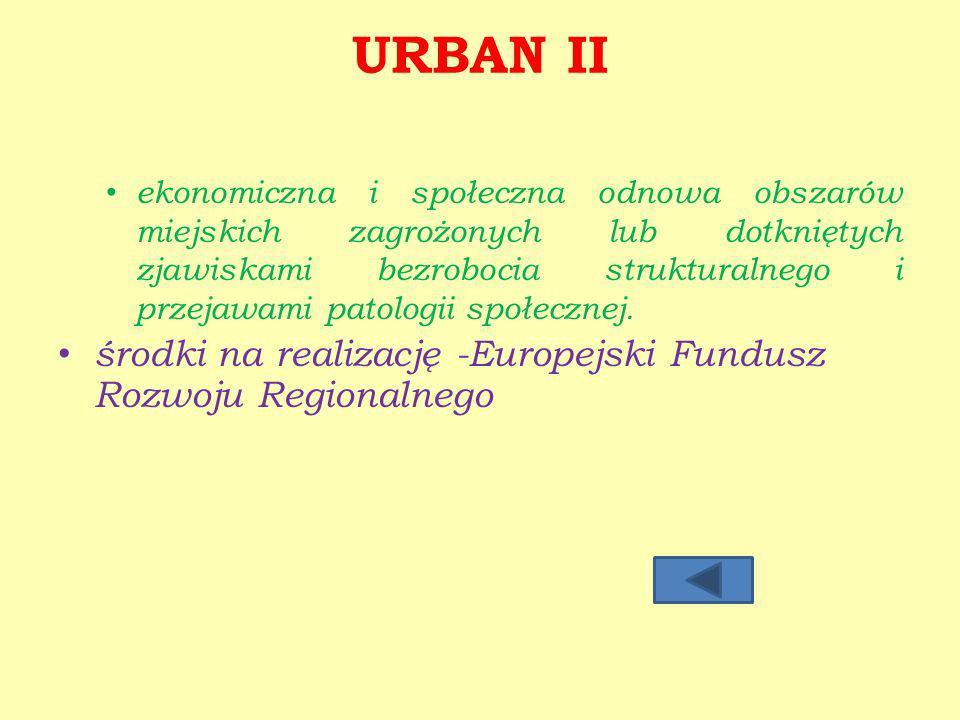 URBAN II ekonomiczna i społeczna odnowa obszarów miejskich zagrożonych lub dotkniętych zjawiskami bezrobocia strukturalnego i przejawami patologii społecznej.