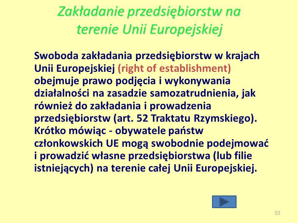 Zakładanie przedsiębiorstw na terenie Unii Europejskiej 53 Swoboda zakładania przedsiębiorstw w krajach Unii Europejskiej (right of establishment) obejmuje prawo podjęcia i wykonywania działalności na zasadzie samozatrudnienia, jak również do zakładania i prowadzenia przedsiębiorstw (art.