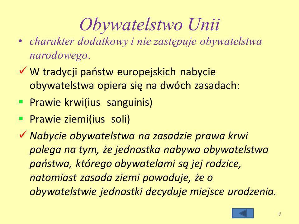 Źródła norm prawa oraz wolności obywatela Unii rozporządzenia-posiadają moc obowiązującą kraje - strony bez potrzeby ich wdrążania do ustawodawstwa państwowego dyrektywy- są wiążące dla krajów członkowskich w obrębie rezultatów, które mają być osiągnięte, ale pozostawiają urzędom krajowym swobodę w obszarze formy oraz metody ich realizacji decyzje-obowiązują we wszystkich elementach tych, do których są skierowane zalecenia oraz opinie - nie są wiążące dla krajów członkowskich Unii Europejskiej.