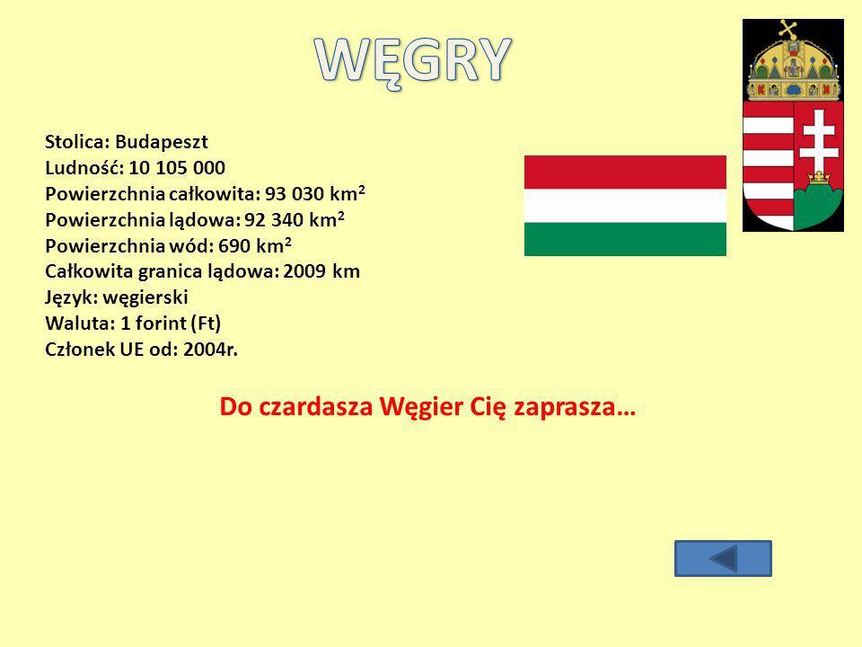 Stolica: Budapeszt Ludność: 10 105 000 Powierzchnia całkowita: 93 030 km 2 Powierzchnia lądowa: 92 340 km 2 Powierzchnia wód: 690 km 2 Całkowita granica lądowa: 2009 km Język: węgierski Waluta: 1 forint (Ft) Członek UE od: 2004r.